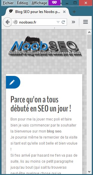 Blog Noob SEO Aperçu Mobile